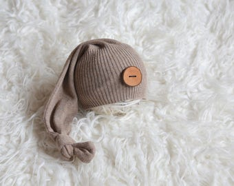RTS Super sweet light brown hat Baby boy long tail hat with wooden button Newborn baby photography prop upcycled style Sleepy hat