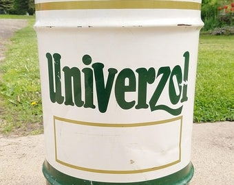 ON SALE Vintage, Univerzol, Oil Barrel, Oil Drum, Petroliana, Oil Can, Man Cave, Trash Can, Garbage Can, W. H. Barber Company, Chicago - Min