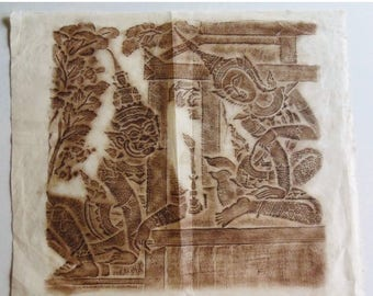 ON SALE Original Thai Rubbing from the South Wall of the Temple of Wat Po, Bangkok: Benjakaya Informs Her Mother of Daskantha's Orders