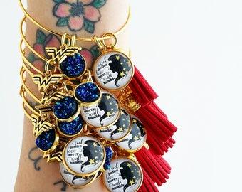 wonder woman inspired gold stackable bangle bracelet gift for her