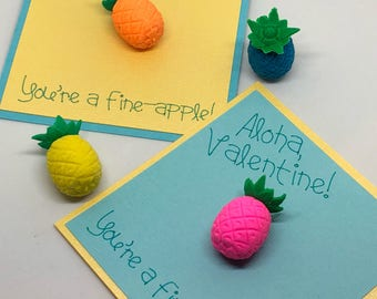 Aloha, Valentine! Pineapple Valentine Cards with Pineapple Erasers- Set of 18