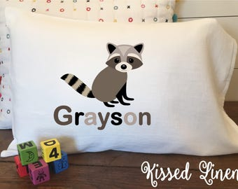 Personalized Woodland Bear Fox Raccoon Hedgehog on White Toddler Travel Pillowcase Soft 100% Cotton Flour Sack Fabric Kids Birthday Bedding