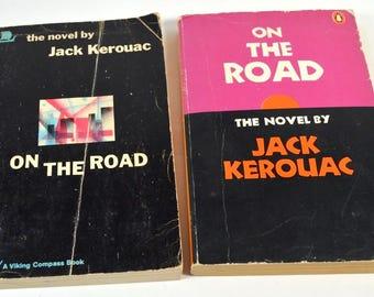 On The Road, Jack Kerouac, Two Vintage Printings, 1968, 1977, Vintage Paperback, Beat Generation, Travel Novel, 1960s Book, 1970s Book
