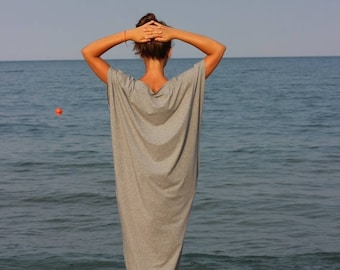 SALE ON 20 % OFF Light Gray Maxi Dress, Cotton Knit Caftan Dress, Plus Size Dress, Beach Dress, Plus Size Clothing, Sizes S , M , L