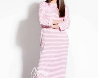 SALE ON 20 % OFF Pink dress/ Striped dress/ Long Dress/ Casual dress/ Long sleeve dress/ Day dress/ Column dress/ Spring dress/ Summer Dress