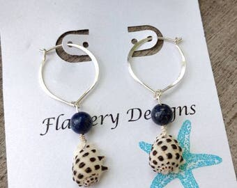 Hawaiian Drupe Shell Silver Lotus Hoops