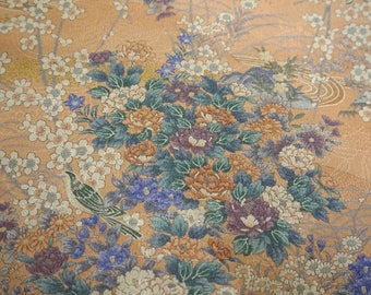 Uguisu Ume Botan Vintage Japanese Tango Chirimen silk kimono fabric