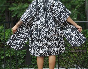 Mud Cloth Black and White Wax Print - African Print Kimono