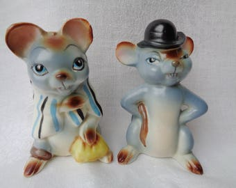 Vintage Norcrest Blue Mice Salt and Pepper Shakers