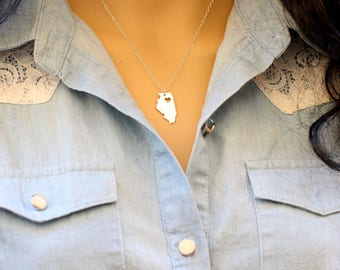 Personalized Illinois necklace, Illinois State necklace, Engraved Illinois State, 14kt Gold Filled, Sterling Silver,, gift for her