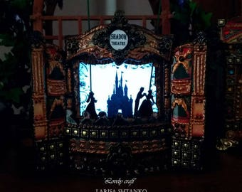 Shadows theatre with illumination. Puppet theater. Dolls house miniature. Paper theater. Handcrafted miniature. For doll House. 1:12 Scale.