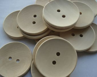 40mm Natural Wood Sewing Buttons, 2-Hole Round Wooden Buttons, Pack of 10 Buttons, W4021