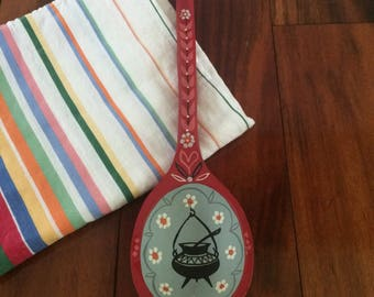 Red painted wooden spoon, wood spoon decor, Scandinavian style, decorative wood spoon