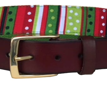 Christmas Stripes Leather Belt /Ugly Christmas Sweater Belt/Leather Belt /Canvas Belt /Preppy Belt for Men/Red, Green and White Striped Belt