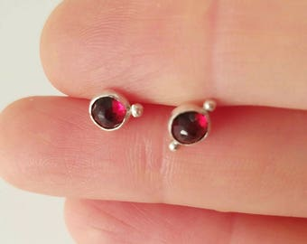 Sterling silver sister garnet earrings
