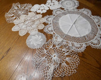 Lot of 8 White Doilies