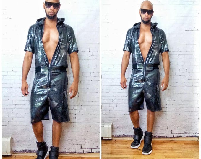 Sequin Camo-flouge Printed Hooded Short Sleeve Jumpsuit,Fightsuit -Great For Burning-man,Afropunk,Coachella, EDC