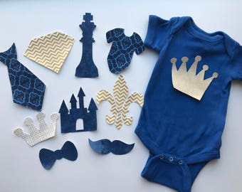 Royal Prince Baby Shower Iron on Appliques for Craft Station - Baby Shower Activity Set - Baby Shower Decorating