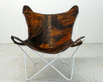 FREE SHIPPING authentic mid century modern reupholstered Knoll Jorge Ferrari Hardoy butterfly chair in cowhide