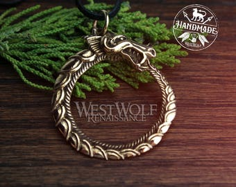Viking Ouroboros Sea-Serpent Pendant -- Norse/Medieval/Skyrim/Jormungand/Dragon/Gold/Bronze