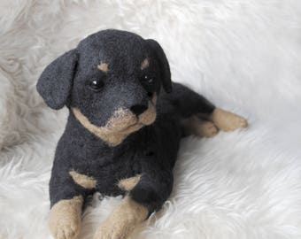 Rottweiler Puppy, LARGE SIZE, Custom Made Needle Felted Dog, Custom Made Pet Portrait, Sheepdog,Rottweiler, Pug or any other breed