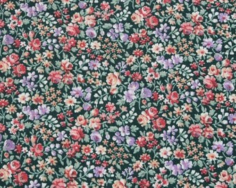 Vintage Small Print Pink Purple Flowers on Green Cotton Fabric, Tiny Print Floral Doll Dress Quilting Sewing Fabric Material 3/4 yard