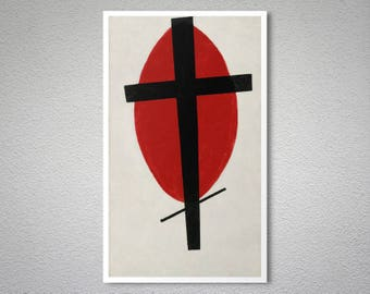 Mystic Suprematism (Black Cross on Red Oval) by Kazimir Malevich Fine Art Prints - Poster Paper, Sticker or Canvas Print / Gift Idea