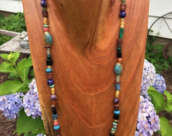 "Multi Color Beaded Necklace 27"" long"