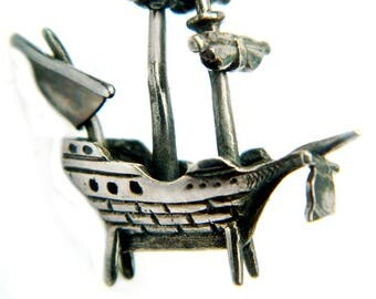 Sterling Silver Miniature Ship Decor Nautical Beach Coastal Decoration For Home Man Cave Fisherman Boat Enthusiast Vintage 925 Gift