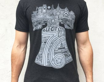 FREE SHIPPING - Liberty Bell -- Paul Carpenter Art -- Unisex Philly Artist Print Tee Shirt