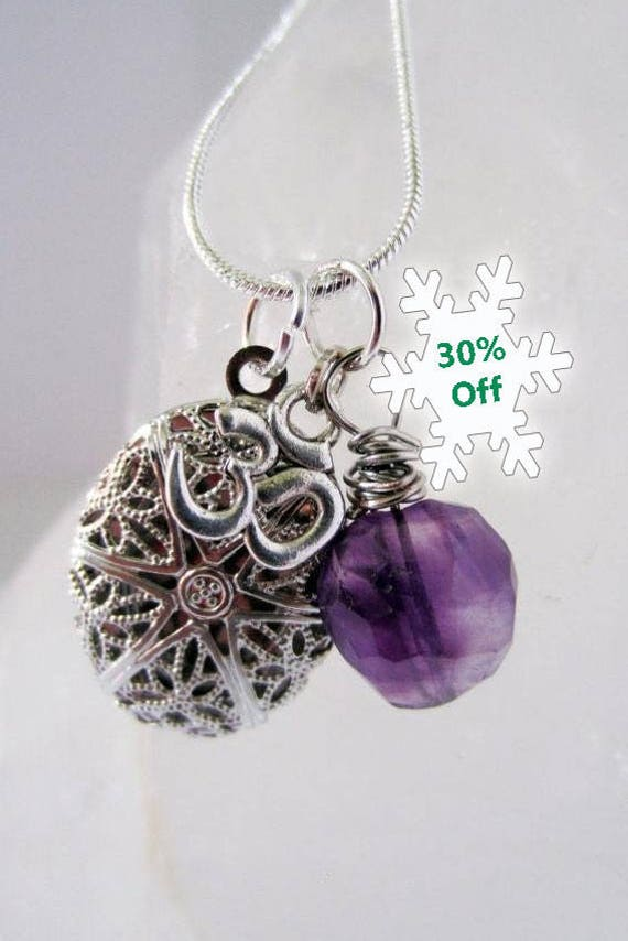 Aromatherapy, Oil Diffuser, Necklace, Silver, Womens Jewelry, Boho Jewelry, Purple Crystals, Amethyst, Sage and Synergy, Handmade
