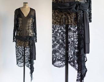 1920s Dress - Sheer Lace Dress - Black Dress - Till Sunrise Dress