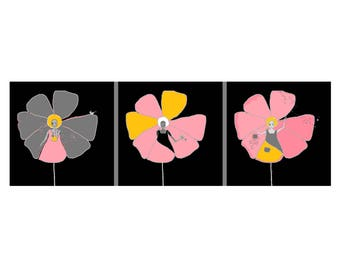 """Fairytale characters triptych painting female """"Petals"""", pink and orange flowers"""