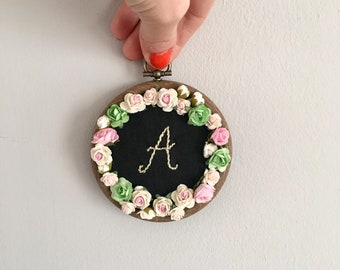 Embroidered Name Initial Hanging Art - Embroidery Hoop - Name Hoop - Nursery Decor - Letter A