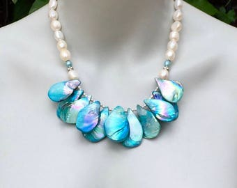 Shell Statement Necklace, Aqua Mystic Mother of Pearl, Big Shell Teardrops, White Freshwater Pearls, Summer Jewelry, Boho Style  1419