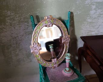 Dolls house hand painted framed mirror-RESERVED