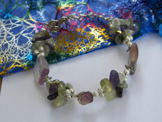 Fluorite Amethyst & Prehnite Triquetra Silver Bracelet Deluxe Energy Filter Stone Magick Crystal Healing