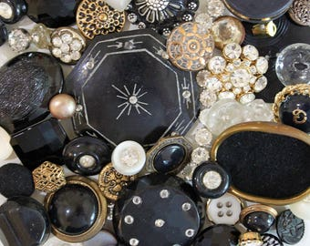Fancy Evening Out*Black Rhinestone Gold Button Lot*Rhinestone Button Pack*52 Buttons