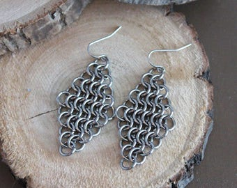 Chainmaille earrings, diamond shaped earrings, hand woven chainmail, statement earrings, stainless steel earrings,