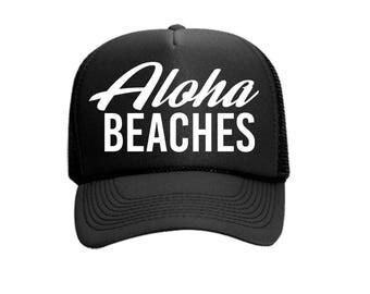 Aloha Beaches Custom Vinyl Black Foam Trucker Mesh Back Hat Snapback