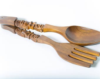Tiki Carved Wood Fork and Spoon Large Wall Decor 1970s