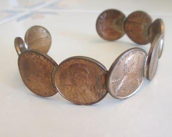 Vintage 1970's Penny Copper Cuff Bracelet, Nine Penney Bracelet, Money Bracelet, Gift For Her, 70's Bracelet