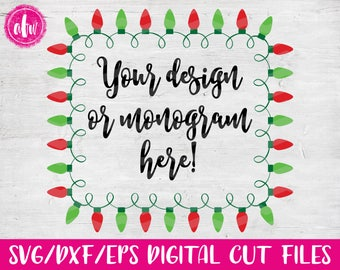 Christmas Lights Monogram Frame Rectangle, SVG, DXF, EPS, Cut File, Vinyl, Vector, Holiday, Tree, Ornament, Elf, Silhouette, Cricut