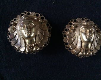 Signed Miriam Haskell Egyptian Revival Earrings