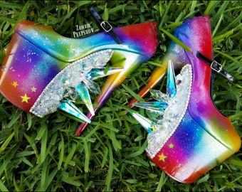 """Oz Collection: """"Over The Rainbow"""" Crystal Prism Pumps"""