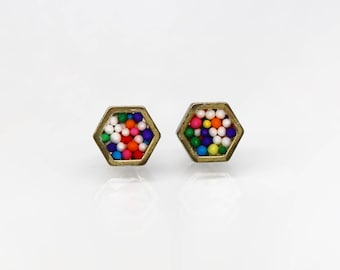 LIMITED EDITION- Sprinkles Geometric hexagon stud earrings