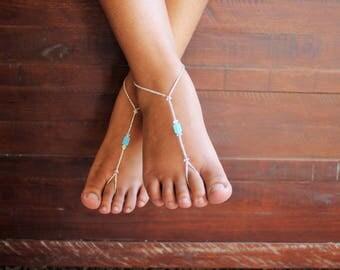 Swarovski Barefoot Sandals  Blue Foot Jewelry Anklet