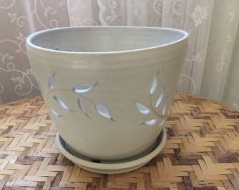 Handmade Orchid Pot in White Stoneware - Discounted