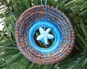 Blue Starfish Ornament Blue Sea Star Pine Needle Ornament Native American Pine Needle Coiled Christmas Ornament Pine Needle Basketry