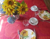 Square Tablecloth. Cotton Jacquard coated, oilcloth. Fabric from Provence, France. Paisley in red.Matching napkins available